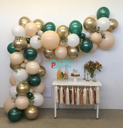 party decoration kits NZ - 1set Rose Gold Green Peach Pastel Balloons Garland Arch Kit Confetti Birthday Wedding Baby Shower Anniversary Party Decoration T200624
