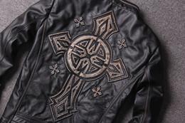 Men short sleeve leather jackets online shopping - Edging vintage Black Stamp cross black locomotive jacket afflaction men motorcycle genuine leather jacket