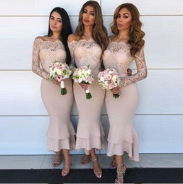 white dresses for beach wedding guest NZ - Asymmetrical Mermaid Bridesmaid Dresses 2019 Illusion Long Sleeve Off Shoulder Country Wedding Dress For Guests Beach Party Gowns Cheap