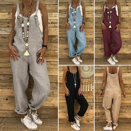 Women S Cotton Jumpsuits Australia - S 5xl Zanzea 2019 Women Casual Solid Strappy Dungarees Vintage Cotton Linen Loose Party Long Harem Overalls Rompers Jumpsuits Y190427