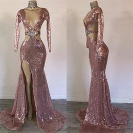 SkieS pictureS online shopping - Rose Gold Evening Dresses Deep V Neck Sequins Crystal Side Split Sexy Mermaid Prom Dress Party Wear Real Pictures Formal Women Gowns