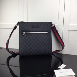2019 High quality best all black stripe red black leather men message bag handbag gold letter hardware shoulder bags free shipping 474137 from flash drive power manufacturers