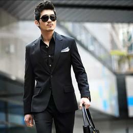 Cheap Black Suits For Men Australia - Black Custom Made Men Suits Wedding Suits For Man Business Slim Fit Formal Groom Wear Prom Best Man Cheap Blazer Handsome 2019 Jacket+Pants