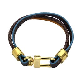 $enCountryForm.capitalKeyWord Australia - Titanium steel jewelry V letter lock old pattern leather bracelet Couple braided leather rope three layer leather bracelet