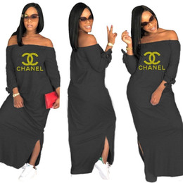 Plus size sexy night clothes online shopping - Women casual mixi dress summer clothes print letter Strapless off shoulder split new arrival dresses long sleeve loose sexy dress plus size