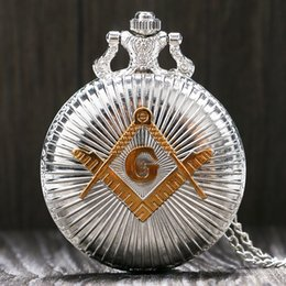 Masonic gifts for Men online shopping - Fashion Silver Golden Masonic Free Mason Freemasonry Theme Pocket Watch With Necklace Chain Best Gift For Men Women