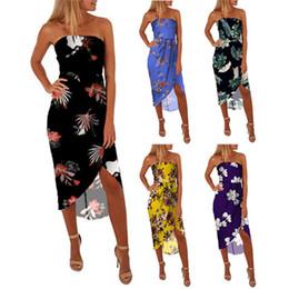 $enCountryForm.capitalKeyWord Australia - Europe And America Sexy Chest Wound Printing Frenulum Irregular Longuette Chiffon Dress Femalea