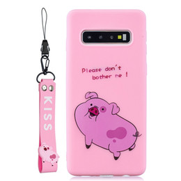 bears lanyard NZ - Soft TPU Case For Huawei P30 Lite P20 Pro Mate 20 P Smart 2019 Y6 Y7 Y9 2019 Cartoon Cute Cat Bear Pig Tiger Dinosaur Kiss Cover+Lanyard