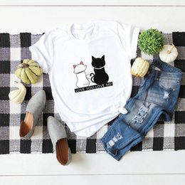 cat t shirts for women Australia - Cat Image Printing T Shirt Short Sleeve Round Neck Lady Women T Shirt For GirlsCasual Short Sleeve T-Shirt Woman