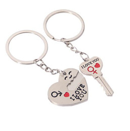 $enCountryForm.capitalKeyWord Australia - Action Lovers Alloy Heart Shaped Key Keychain NEW Cupid Arrow Couple Key Chain Lovers Pendant Key Ring Children Gift