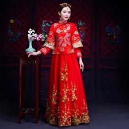 $enCountryForm.capitalKeyWord Australia - RED Long Sleeve Women Phoenix&Formal Cheongsam Classic Chiffon Embroidery Wedding Dress Toast Clothing Elegant Evening Qipao
