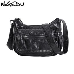 Washed Messenger Bag Australia - Messenger bags for Women Shoulder Bags Soft Washed PU Leather Crossbody Large Fashion Rivet Female Purses and Handbag Black