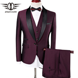 $enCountryForm.capitalKeyWord NZ - Plyesxale Men Suit Wedding Suits For Men Shawl Collar 3 Pieces Slim Fit Burgundy Suit Mens Royal Blue Tuxedo Jacket Q83 Q190523