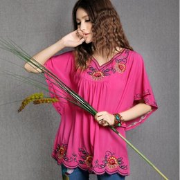 66f06040dfdf27 New Summer 2019 Vintage Mexican Ethnic Flower Embroidery Butterfly Sleeve  Blouse Cotton Top Vestidos gown for Women DW880