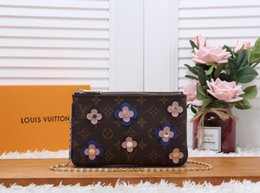 Stylish Wool Dress Australia - M63905 Stylish flower embellished double zipper bag WOMEN HANDBAGS ICONIC BAGS TOP HANDLES SHOULDER BAGS TOTES CROSS BODY BAG CLUTCHES