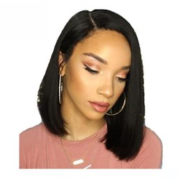 lace front hairstyles Canada - Bob Cut Full Lace Human Hair Wig For Black Women Virgin Malaysian Preplucked Glueless Lace Front Wigs Bob Short Hairstyles With Baby hairs