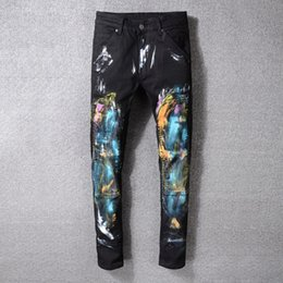 European Street Painting Australia - American High Street Brand White Jeans Men's Fashion New Slim Casual Jeans Men's Large Size High Quality Cotton Inkjet Painted Jeans