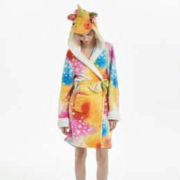 Discount thick bathrobes - Cute Winter Women Hooded Bath Robe Cartoon Animal Unicorn Flannel Bathrobe Sleepwear Female Thick Warm Fleece Pajama Rob