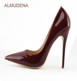ALMUDENA europea sexy pelle specchio bordeaux scarpe sottili tacco alto vino rosso punta a punta pompe scarpe da sposa chic drophip