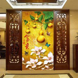 $enCountryForm.capitalKeyWord Australia - Chinese style 3D gold hoist wealth painting custom wallpaper seamless large mural porch aisle background decor