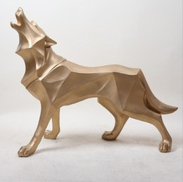 Resin wolf online shopping - European and American resin decoration crafts Office study bedroom home totem wolf simulation animal creative craft ornaments