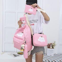 Cute Girl Backpacks For Teenagers Australia - 4 Pcs Cute Canvas Student Girl Boy School Backpacks For Teenager Girls Leisure Knapsacks Shoulder Bags Travel Backpack Preppy Y190530
