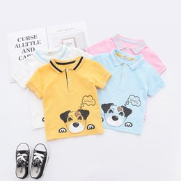 Boy Dog T Shirt Australia - 2019 Summer Boys polo shirt kids cartoon dog letter printed casual tops children stripe lapel short sleeve cotton breathable T-shirt F6777