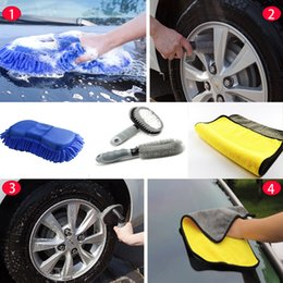 sponge for washing cars 2019 - 4pcs set Car Wash Tools Strong Sponge For Washing Microfiber Towel Wipe Water Profession Wheel Hub Tire Brush Clean Acce