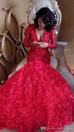 special roses UK - 2019 Sexy red rose Sequined mermaid Prom Dresses Special Occasion Formal Long sleeve deep v neck Special Occasion Evening Dresses