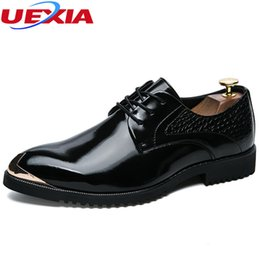 Men Shoes Australia - UEXIA Men Shoes Formal Leather Luxury Fashion Groom Wedding Shoes Men Oxford Dress Metal Toe Business Party Casual Lace-up Flats