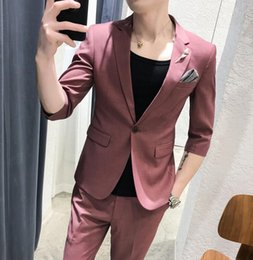 $enCountryForm.capitalKeyWord Australia - WL 2019Two Suit Men's Handsome Summer Thin Short Sleeved Suit Suit Chaohan Version Of The Body Repair British