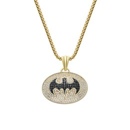 batman pendants Australia - Fashion Batman Pendant Hip Hop Bling Bling Iced Out Necklaces Full Rhinestone Superhero Pendants Necklace For Men Jewelry Gift