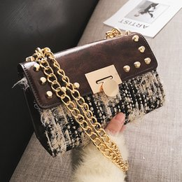 Knitted Chains NZ - Wool Hairy felt knitting women messenger bags leather designer lock shoulder Chains Crossbody bag Rivet Small fashion handbags
