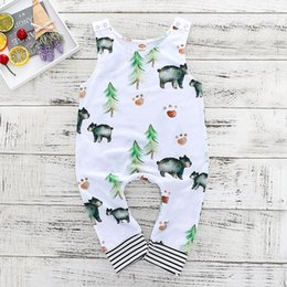Wholesale Toddler Boy Clothes Sleeveless Baby Romper Jumpsuit Outfits Baby Boys Girls Bear Trees Romper Kids Infant Clothes Newborn Baby Clothing