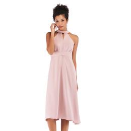 951d31bd3dc Женщины вечернее платье клуб знакомства платья молния Высокая Талия Империя  бальное платье галстук тонкий экипаж шеи розовый средней длины платье