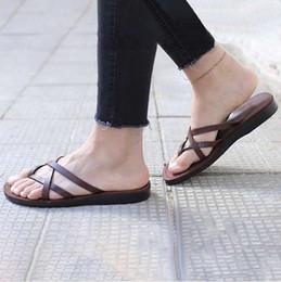 Wholesale Canvas High Shoes Australia - Fashion Open Toe Flip-Flops for woman classics Flats Sandals Beach Shoes Roman Slippers men slippers flat high quality