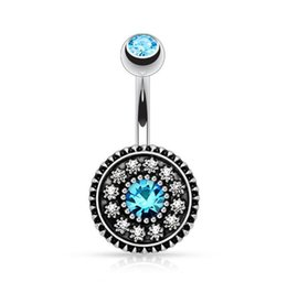 Navel pierciNg diamoNd online shopping - New Round Double Diamond Ball Belly Bars Belly Button Rings Belly Piercing Crystal Flower Body Jewelry Navel Piercing Rings Shape Pendant