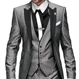 $enCountryForm.capitalKeyWord UK - 2020 Mens Designer Jackets Formal Suits Handsome Peaked Lapel Three Pieces Slim Fit Groom Tuxedos Custom Made(Jacket+Vest+Pants)