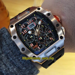 Big Rose Watches Australia - Perfect version RM11-03RG Skeleton Big Date Dial Miyota Automatic RM 11-03 Mens Watch 904 Steel Rose Gold Case Rubber Strap Sport Watches