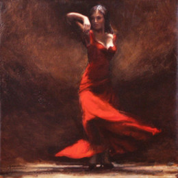 Flamenco Paintings Australia - Hand painted woman oil paintings Passion of Flamenco canvas art for wall decor