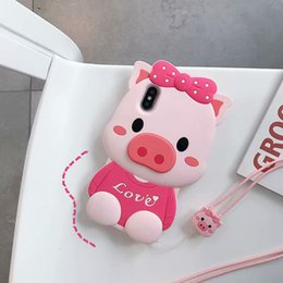 Discount silicon animal cases for iphone - 3D Pig Cute Soft Case For iphone XR XS MAX X 10 8 Plus 7 6 6S Silicon Gel Coque Heart Animal Lovely Love Bow Bowknot Car