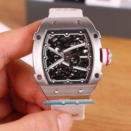Venta al por mayor de Nuevo esqueleto de alta calidad RM67-02 Dial Movimiento de plata caja de acero automático Miyota RM 67-02 del reloj para hombre relojes deportivos blanca, correa de nylon
