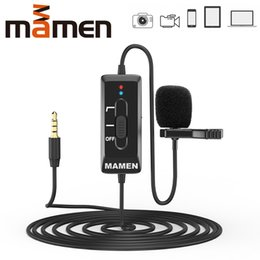 record microphone Canada - heap Microphones MAMEN 8m Cable Clip-On Lavalier Microphone 3.5mm Plug Condenser Mic Vlog Recording Microfono For DSLR Camera Phone PC Ta...