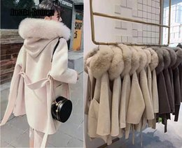 Wholesale fox fur trimmed coat resale online - Korean Version Long Cashmere Coat With Real Fox Fur Trim Hoodie Warm Thicken Large Pockets Coat female Women Outwear Winter Coat DT191023