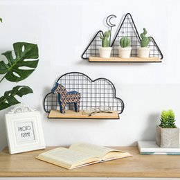 types hanging plants Australia - Creative Mountain Cloud Shaped Wall Storage Hanging Rack Shelf Wood Metal Holder Display Plants Space Saver with Wall Mounting T200506