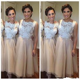 Short White Gold Dresses Australia - 2019 Vintage Short Bridesmaid Dress With White Lace Appliques Champagne Tulle Maid Of The Bride Gown Plus Size Vestidos de Bridesmaids Dress