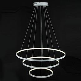 $enCountryForm.capitalKeyWord Australia - Modern LED Acrylic Pendant Lights 3 Rings Chandeliers White Black Color 90W for Office Dining Room Living Room
