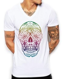 Bright color t shirts online shopping - Rainbow Candy Skull VNeck T Shirt Deep Fitted Bright Ibiza Holiday Men EDY21 harajuku Summer tshirt