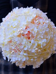 pink ivory bridal bouquets UK - H&S BRIDAL Ivory Pink Wedding Bouquet Women Artificial Flower with pearl Gift Bridal Bouquet for Wedding Emulation Decoration