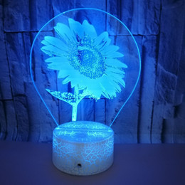 $enCountryForm.capitalKeyWord Australia - 2019 Christmas New Pattern Touch Remote Control Change Tintometer Sunflower Bedside Decoration 3d Lamp Crackle 3d Small Night-light